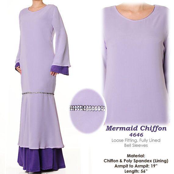 Chiffon Lilac Modern Mermaid Kurung Abaya Long by MissMode21, $30.00