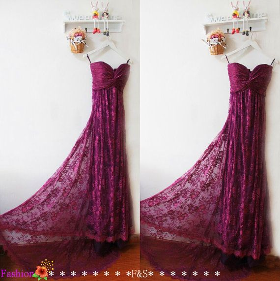 Mermaid Prom DressPurple Lace Bridesmaid by FashionStreets on Etsy