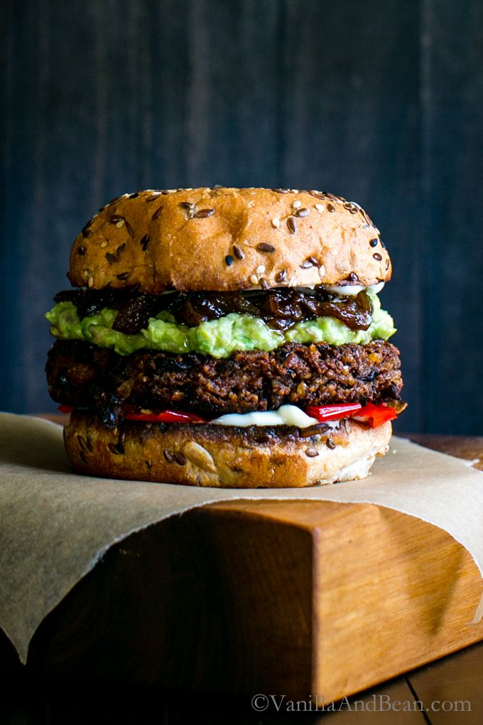 BLACK BEAN WALNUT BURGERS WITH SAUCY SWEET ONIONS                                                                                                                                                                                 More