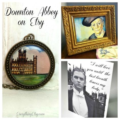 Downton Abbey on Etsy...time to shop & some Downton Abbey viewing tips! :) ----- Maybe put pics of the bride/groom/fam/friends in albums on the table.