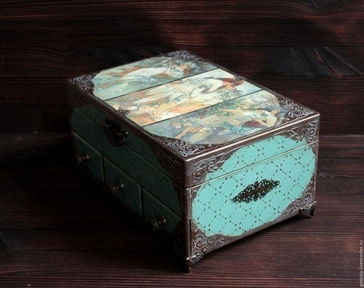 """Купить Шкатулка для украшений """"Весна. Лето. Осень"""" - бирюзовый, старинная шкатулка, муха, Альфонс Муха"""
