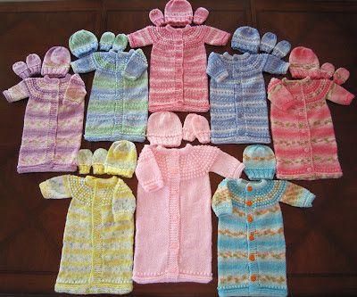 Sea Trail Grandmas: Knitting Pattern; Preemie & Newborn SLEEP SACK (Sleeping Bag), HAT AND MITTENS SET