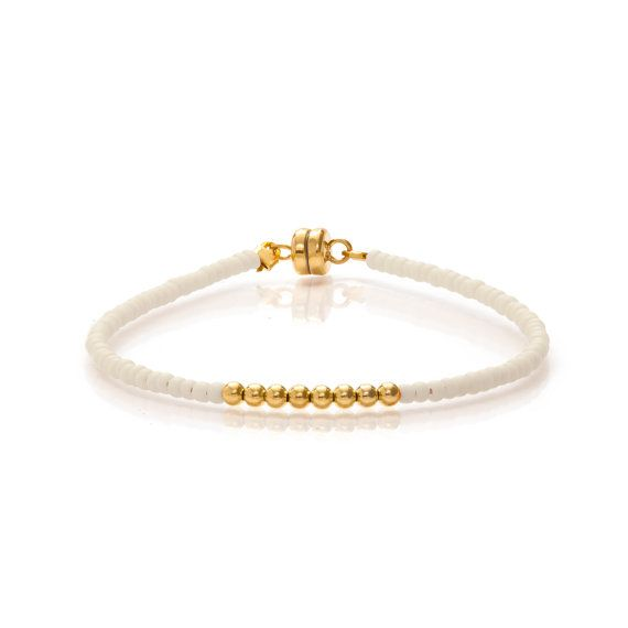 Delicate Matt Cream & Small Gold Beaded Friendship Bracelet