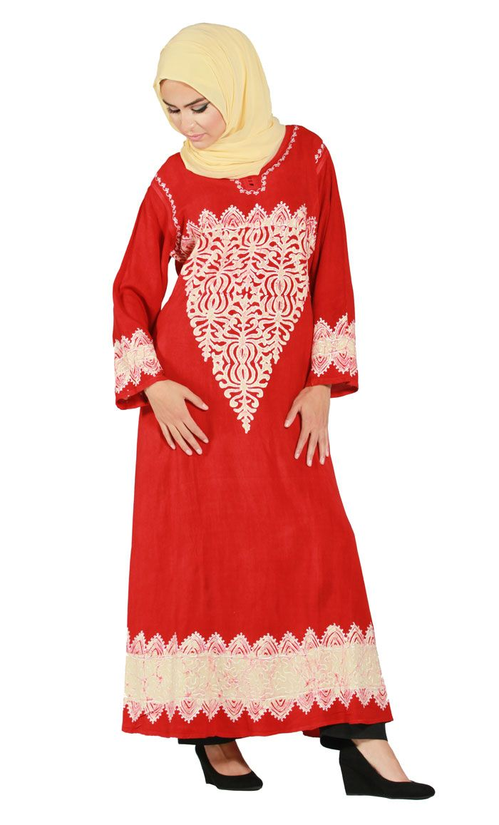 This luminous brilliantly red embroidered long shirt dress style Kaftan is another handmade jewel.