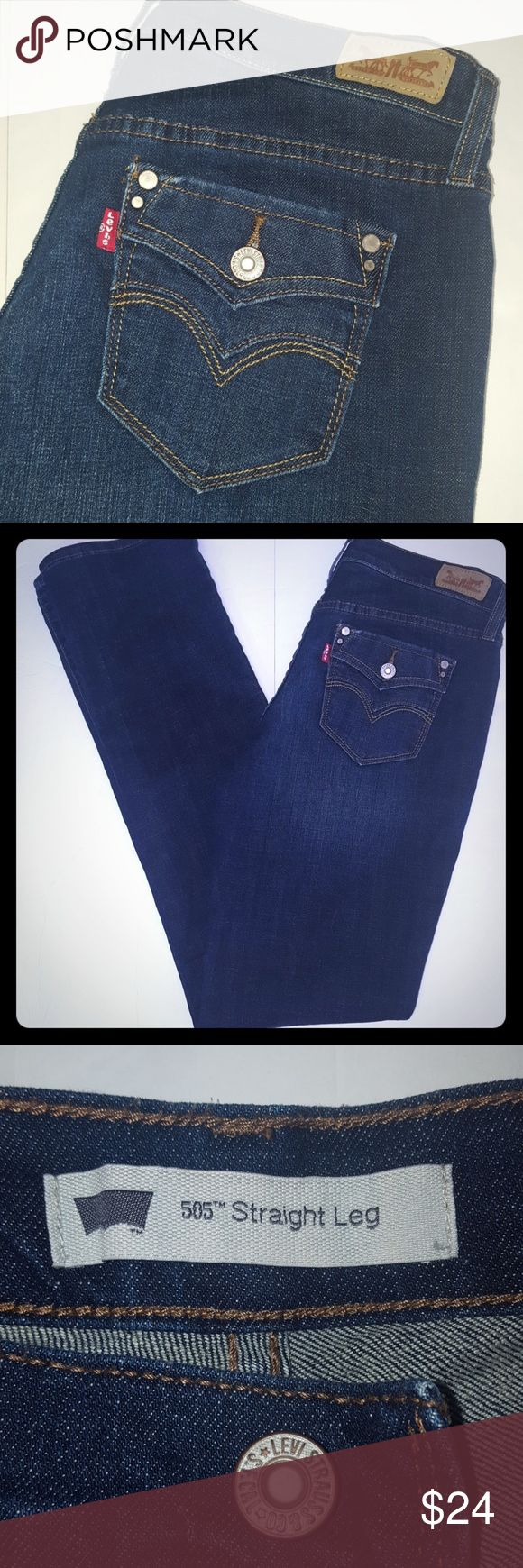 """Levi's 506 straight leg jeans nwot 4 long Never worn. Dark wash jeans. Measurements are approximate and taken laying flat  Inseam 33 1/2"""" Rise 9"""" Waist flat measures 14 1/2"""" 99% cotton  1% elastane Levi's Jeans Straight Leg"""