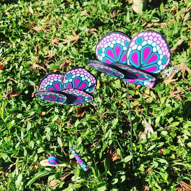 Hand made from polymer clay, garden butterflies