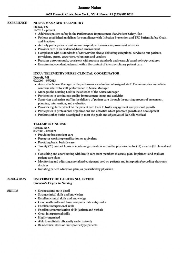 Telemetry Nurse Resume Sample 2021 In 2021 Nurse Job Description Nursing Resume Telemetry Nursing