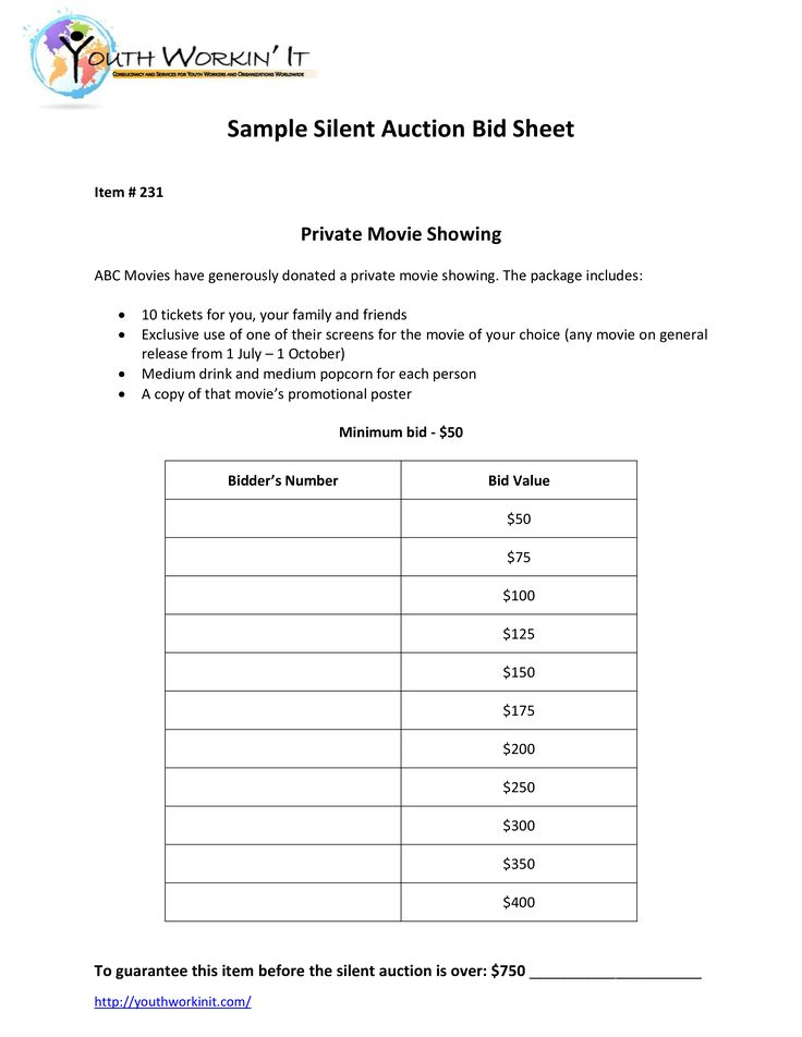 Silent Auction PDF Format - Silent Auction PDF Format