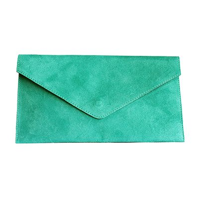 Lucia Italian Turquoise Leather Envelope Clutch Bag - £24.99