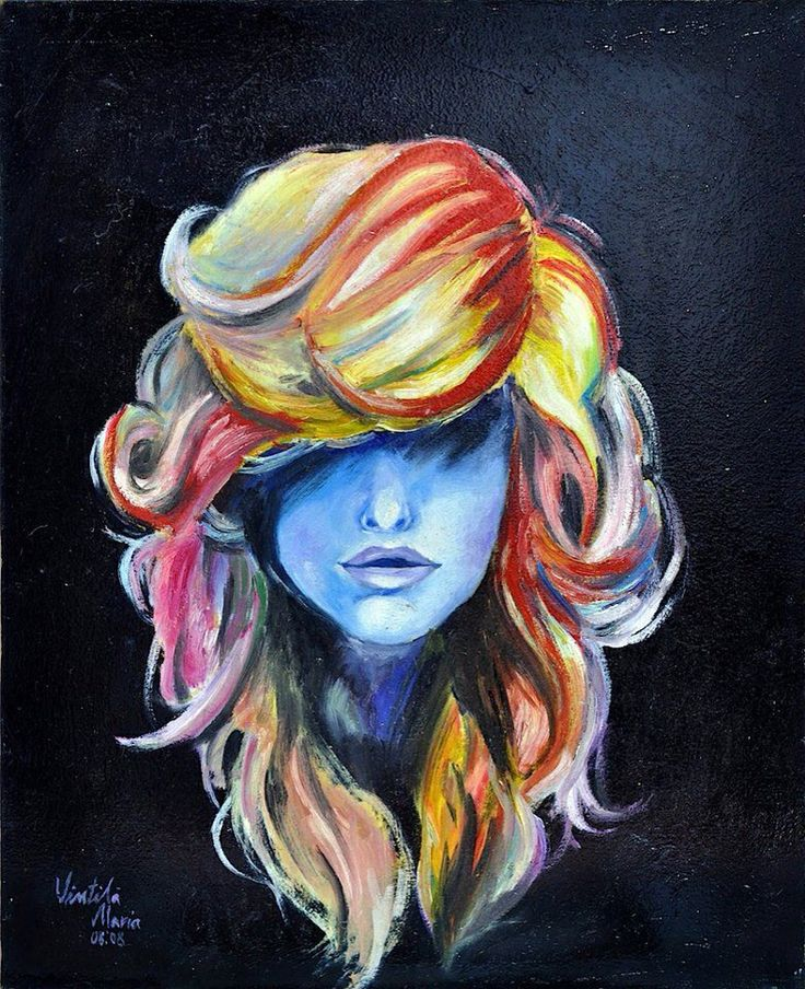 Girl With Long Colored Hair Covering Eyes Art
