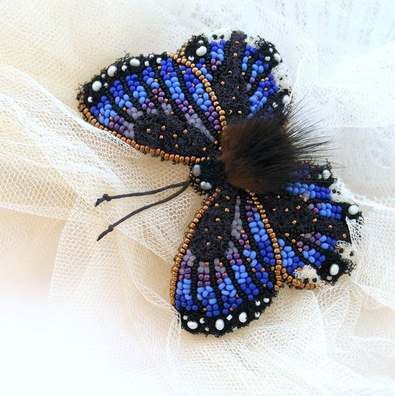 Butterfly brooch textile jewelry brooch Blue bead embroidered. Butterfly jewelry. MADE TO ORDER