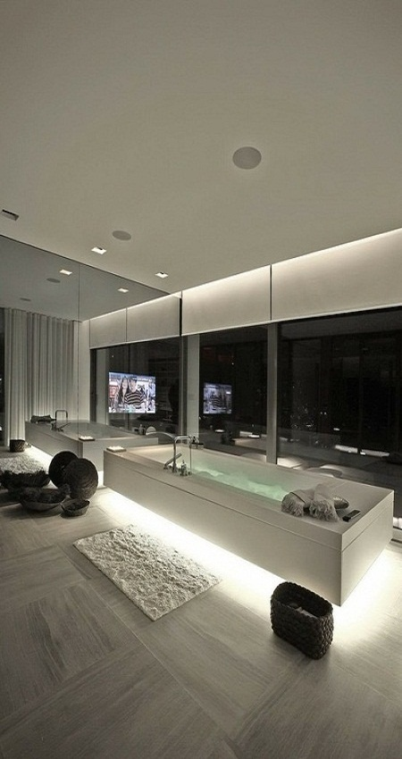 ,Love the lighting under the tubModernbathroom, Luxury Bathroom, Modern Bathroom, Bathtubs, Dreams House, Interiors Design, House Interiors, Dreams Bathroom, Modern Home
