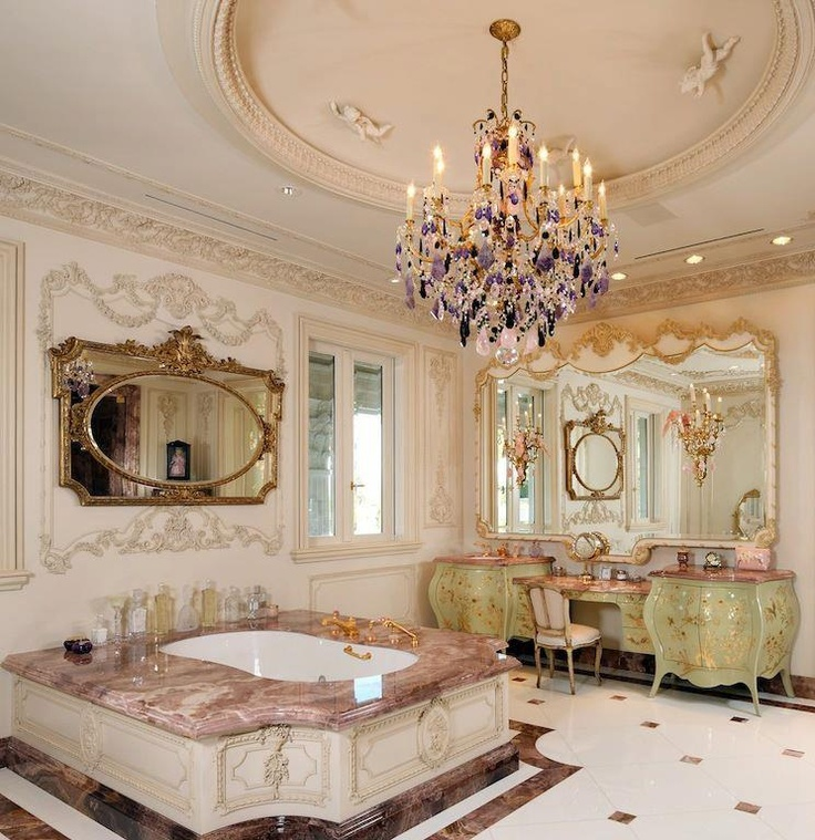 Dream Bathroom! I WILL have a chandelier in my bathroom someday!