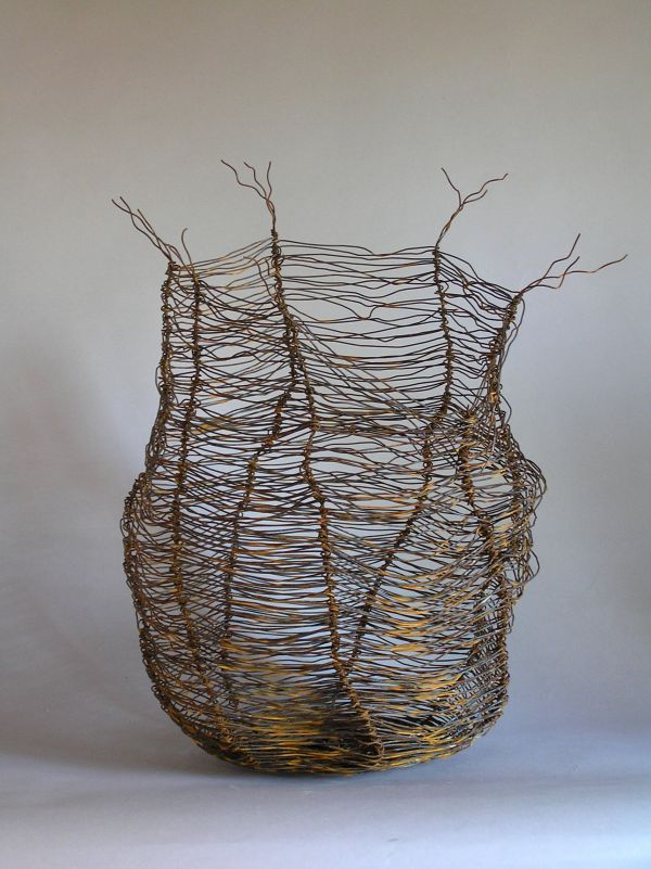 Wire Wire(Mesh Netting Chicken) Metal Rod or Bar or Tube sculpture by artist Tabitha Sheehn Davis titled: 'Porifera'