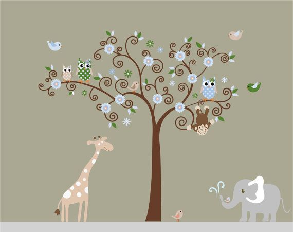 Children Wall Decals Nursery Safari Tree Decal by NurseryWallArt, $99.99