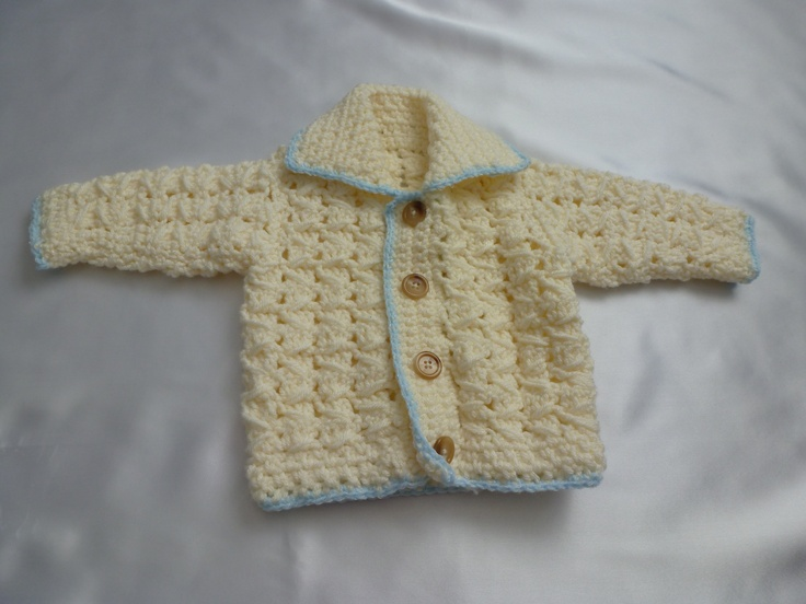Baby boys crochet cardigan trimmed with blue