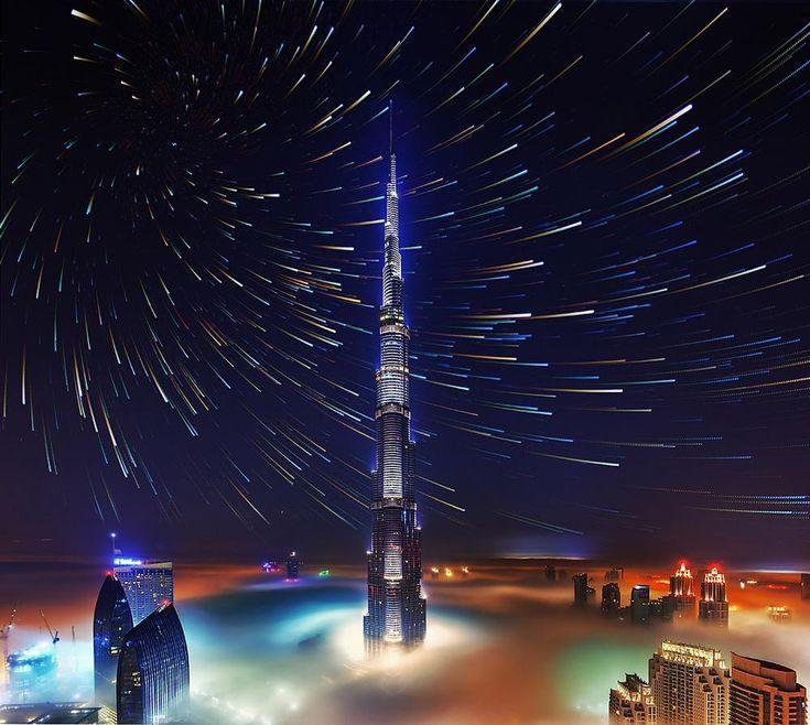 foggy burj khalifah Startrails by Rustam Azmi