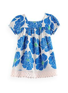 Pumpkin Patch - dress - nouveau flower anglaise trim dress - S2BG80010 - lagoon blue - newborn to 12-18mths