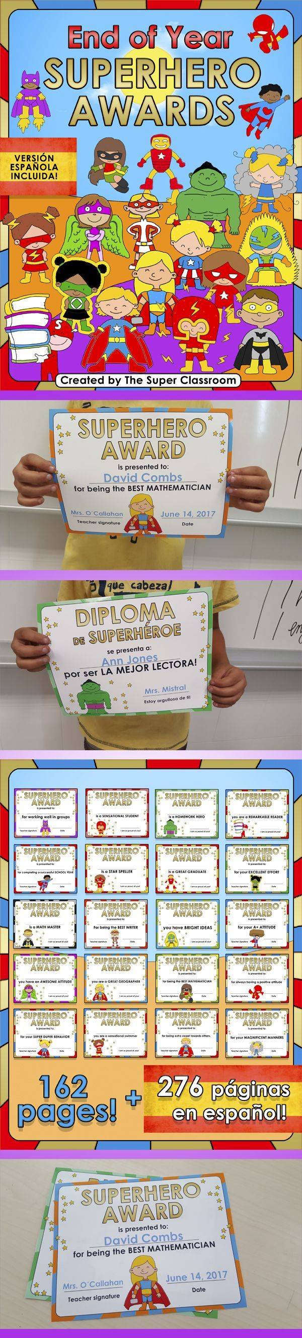 These 124 editable Superhero Awards are an amazing way to celebrate a successful school year! You can type the student name and your name straight onto the awards just by clicking on the text fields. There are also 38 fully customizable awards where you can edit the text, choosing the award name and reason. That makes a total of 162 pages! También se incluye la versión española de este material. Se incluyen 59 diplomas totalmente personalizables y 218 diplomas!