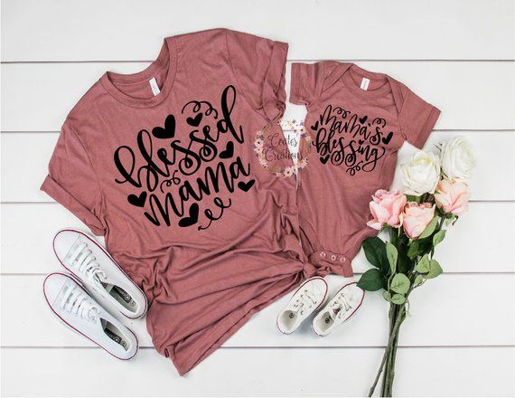 266f49dc Mother Daughter Outfits//Blessed Mama//Mama's Blessing//mommy and me//matching  mom daughter//baby shower gift//bella canvas tops