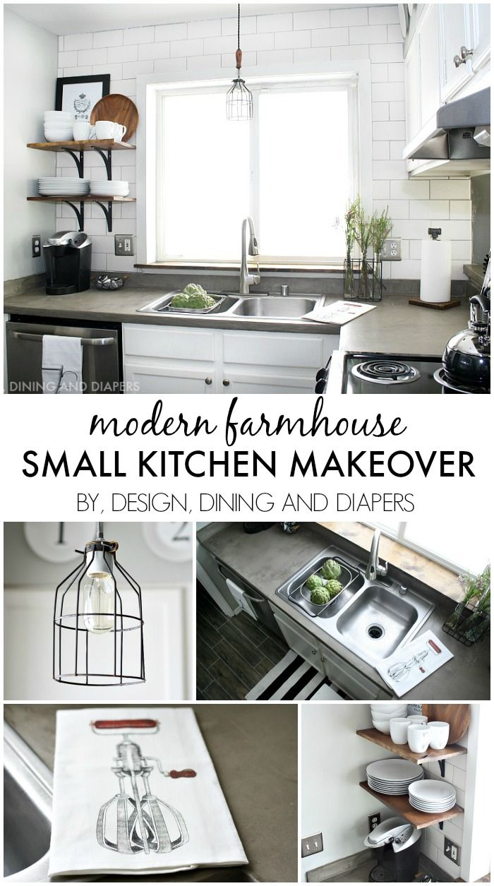 Small Kitchen Makeover with a Modern Farmhouse Style - great ideas for decorating a small space on a budget! designdininganddiapers.com