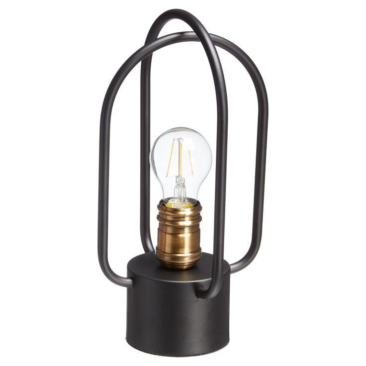 Shop the look! Stoere tafellamp van metallic zwart metaal. Kleine fitting E14.