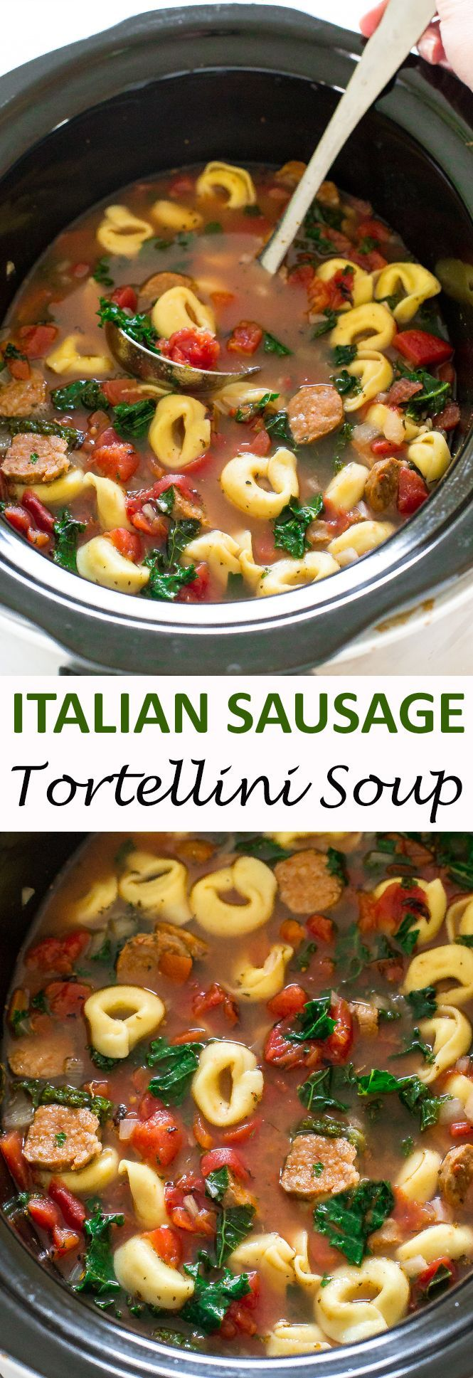 Slow Cooker Tortellini Sausage and Kale Soup. A super easy and delicious meal that takes only 10 minutes of prep time. | chefsavvy.com #recipe #Italian #sausage #tortellini #soup #crockpot