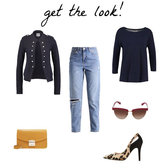 BLOG DE MODA Y LIFESTYLE: Navy long sleeved top+distressed high-waist jeans+navy military style blazer+leopard print pumps+mustard clutch+sunglasses. Spring Casual Outfit 2017