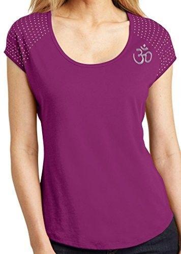 Womens Hindu Om Symbol Bling Shirt - Shoulder Print - Bright Berry / Ladies Medium, Women's, Pink
