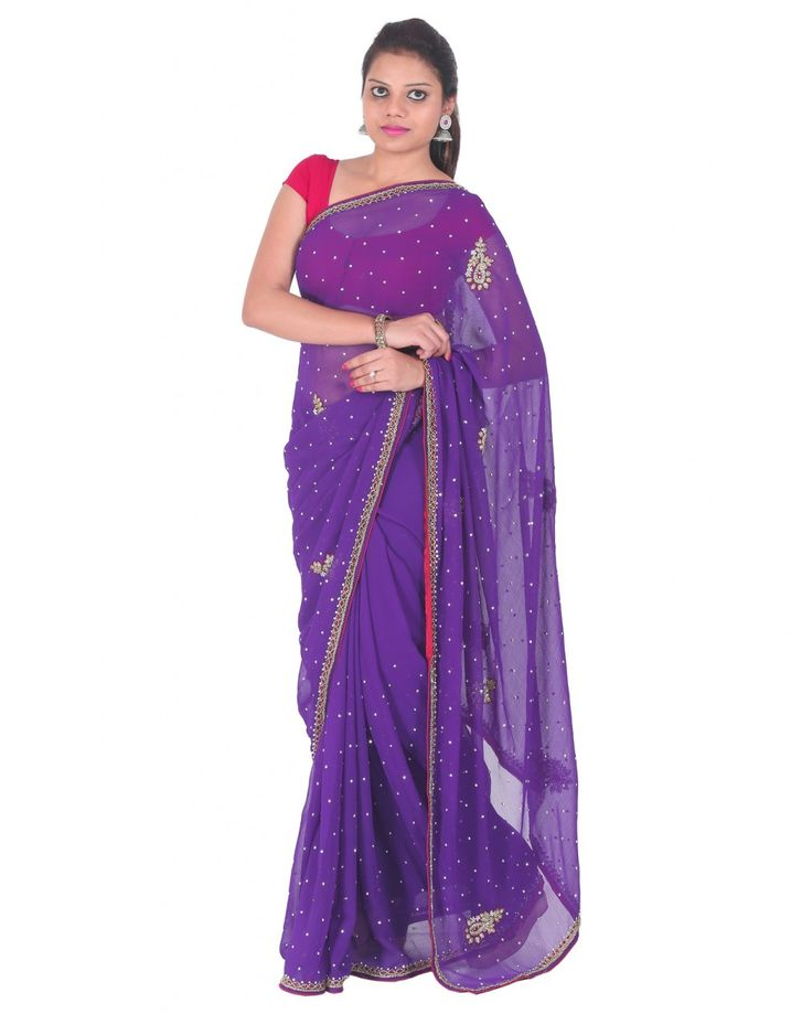 This organic purple color georgette saree with stone work is light in weight and comfortable to wear.Measuring about 5.5m in length,it comes with a