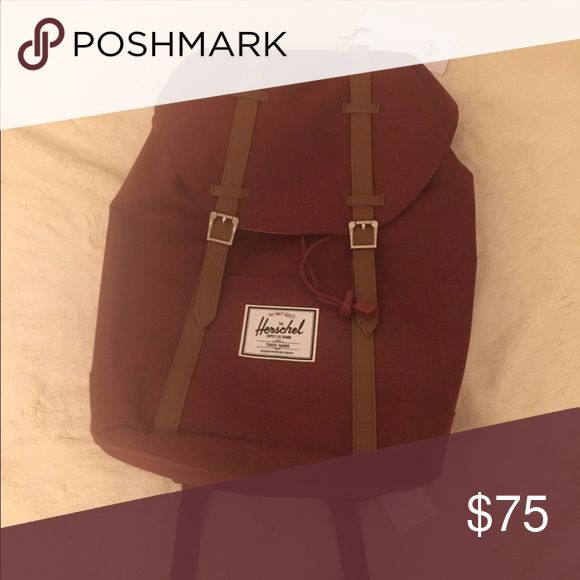 """Herschel Retreat Backpack NWT Wine BNWT Retreat Backpack from Herschel Supply Co. Has all original tags and in perfect condition. Says it fits 15"""" laptop. Color is Wine like deep red. Dimensions: 17""""H, 12""""W, 5.75""""D, 19.5""""D Herschel Supply Company Bags Backpacks"""