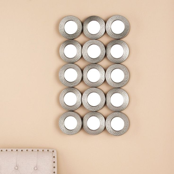 Sphere Grid Wall Sculpture, Hammered Silver