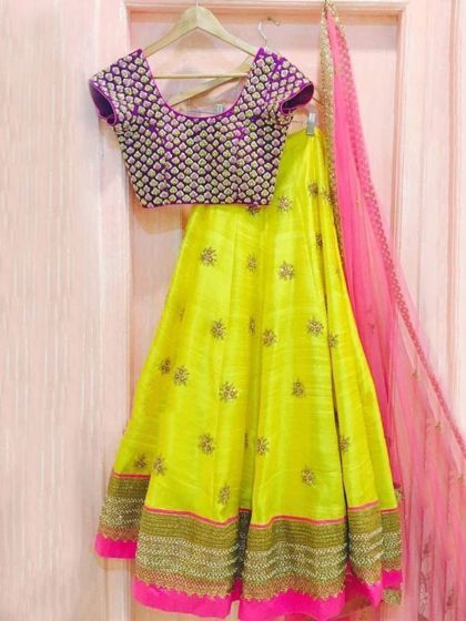 Maize Yellow Banglori Silk Embroidered Party Lehenga