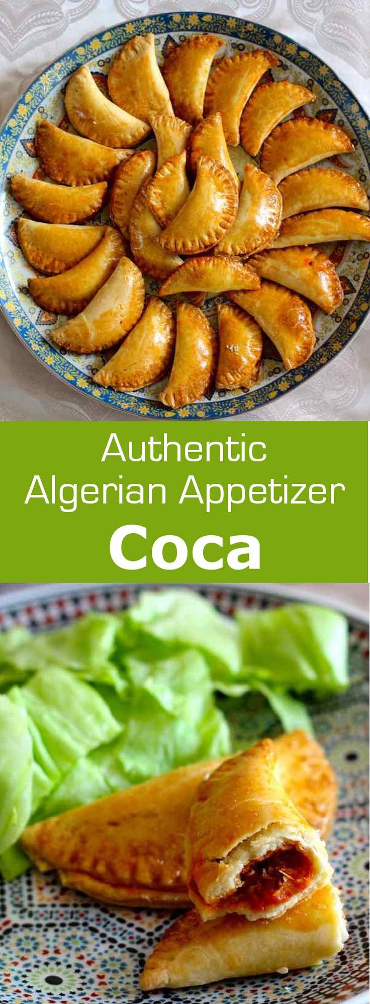 An Algerian coca is a small turnover filled with frita, a mixture of bell peppers, tomatoes and onions that are simmered in olive oil. For the dough: 5 cups flour, 2 egg yolks, 3/4 cup olive oil, 1/2 cup water (more or less depending on the quality of the flour), 1-1/2 t salt. For frita: 2 green bell peppers, 2 red bell peppers, 1 onion and/or 3 garlic cloves, 8 fresh tomatoes, 1/4 cup olive oil