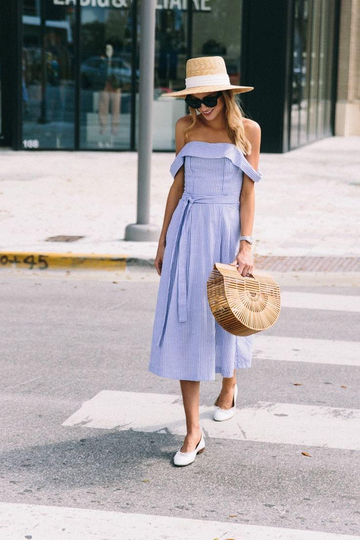 Spring blue and white midi dress, off the shoulder, cult gaia bag, wide brim hat, chanel ballet flats