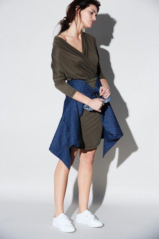 Aquarius Dress Draped colar long sleeves fitted dress