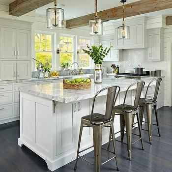 Another View Of This Gorgeous Gray Kitchen Wood Beams Light Countertops Shiplap