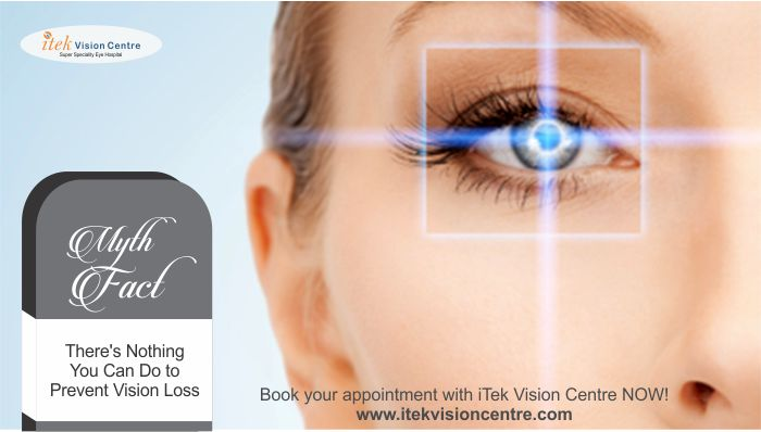 There's Nothing You Can Do to Prevent Vision Loss Myth: At the very first sign of symptoms, such as blurred vision, eye pain, flashes of light, or sudden onset of floaters in your vision, you should see your doctor. If detected early enough, depending on the cause, there are treatments that can correct, stop, or at least slow down the loss of vision.