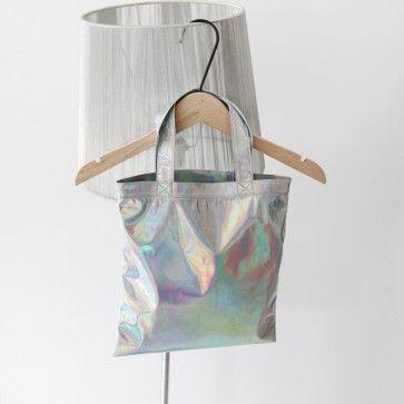 [Hologram Tote] A #cute mini size #tote #bag featuring a #hologram print. #koreanfashion #bags #totebag #unique #fashiontoany
