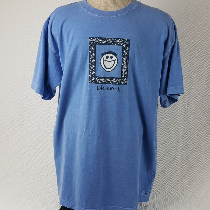 Life Is Good Mens T-Shirt Baby Blue Distressed 100% Cotton SS Size XL #LifeisGood #GraphicTee