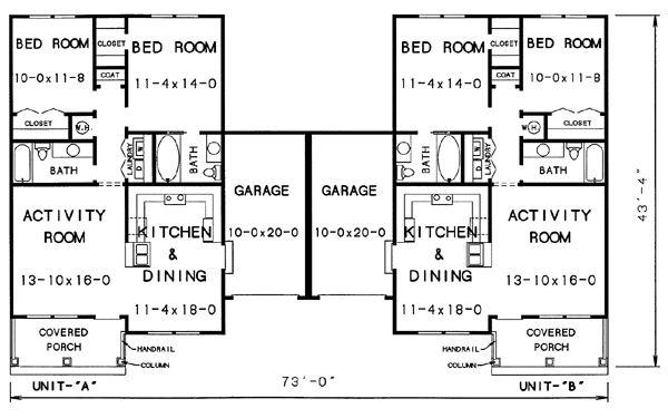 Single Level Duplex Plans Unit Duplex House Plan 89689