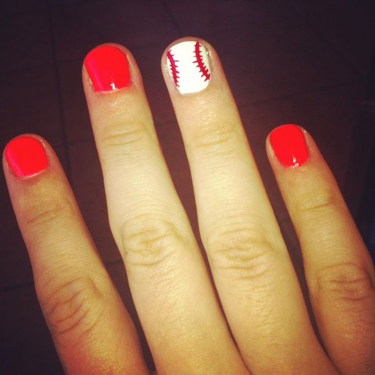 DIY nails: To pull together your outfit for the baseball game, try painting a baseball onto your nails.