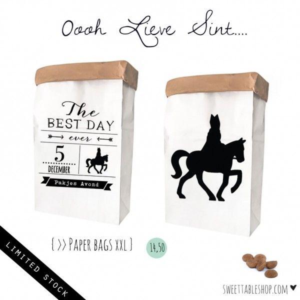 Paper Bags XXL Zoet Lovely Sinterklaas Silhouet