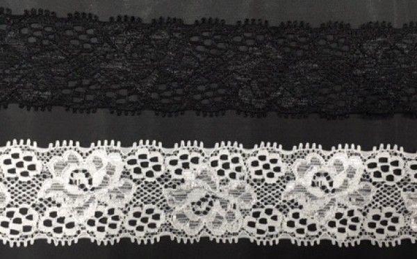 Pizzo elasticizzato composto da 88% poliammide e 12 % spandex. Disponibile nelle varianti colore bianco e nero, altezza pizzo 3,5 cm