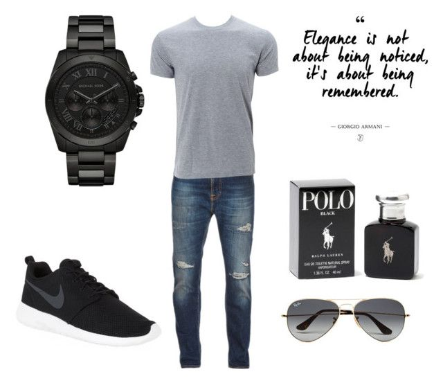 """""""Untitled #13"""" by terka-zelenkova on Polyvore featuring Nudie Jeans Co., NIKE, Ralph Lauren, Michael Kors, Ray-Ban, men's fashion and menswear"""