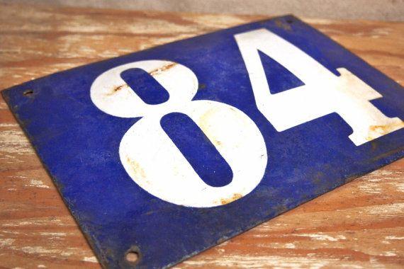 Vintage French Enamel House sign Blue White by RuffByMargo on Etsy, $45.00