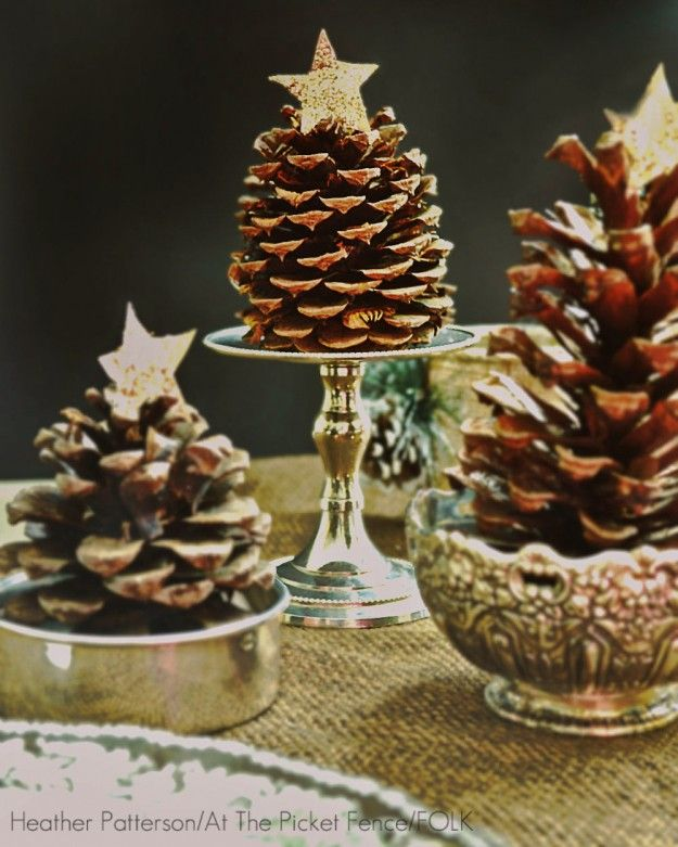 16 best images about no l d coration de table on pinterest for Pine cone christmas tree craft