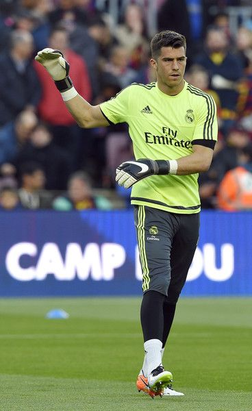 "Real Madrid's goalkeeper Ruben Yanez warms up before the Spanish league ""Clasico"" football match FC Barcelona vs Real Madrid CF at the Camp Nou stadium in Barcelona on April 2, 2016."