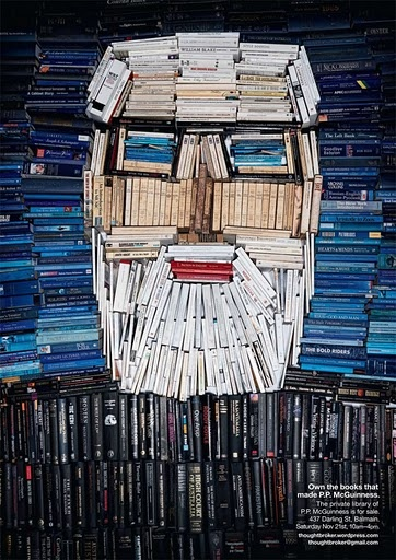 book art.  P.P. McGuinness created this arrangement in order to sell his own personal library.