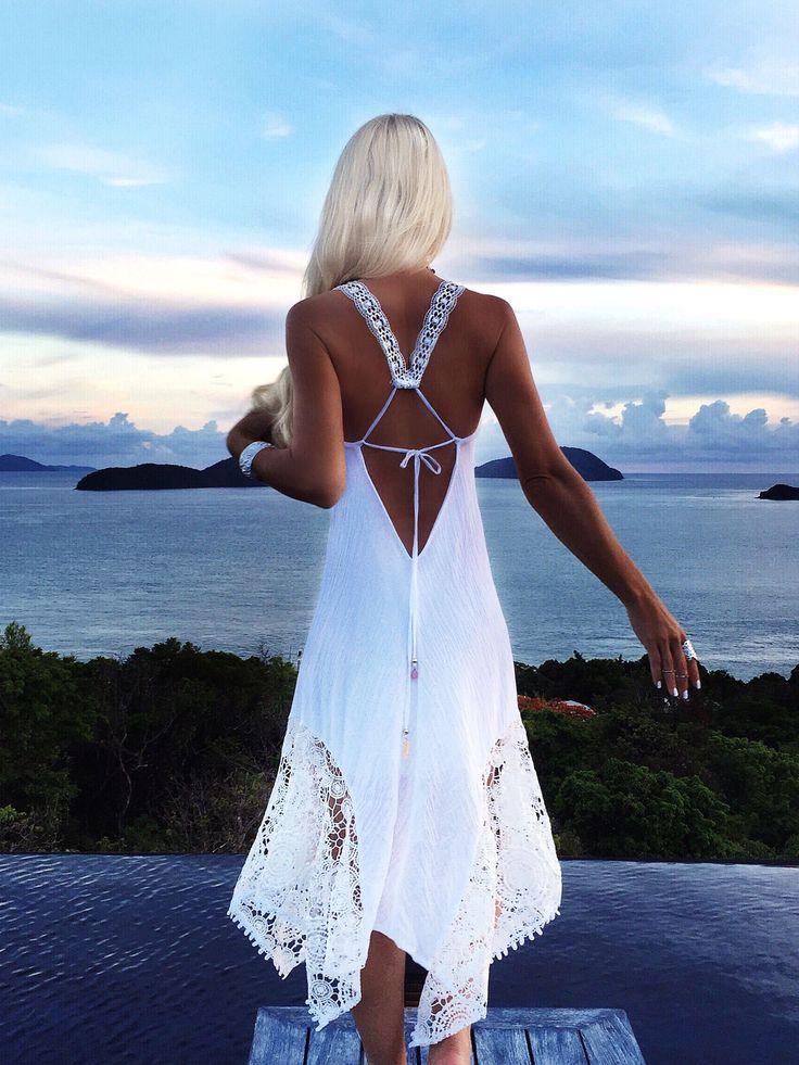 White Sundress + Hippy + Boho..love the back and neckline..Summer perfect + resort.